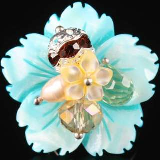 Baby Blue Mother of Pearl Shell Flower Bead Finger Ring Adjustable
