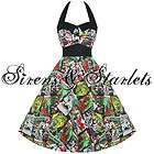 WHITE FLORAL RETRO VINTAGE 50S STYLE SWING PARTY PROM DRESS