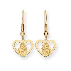 Disney Belle Heart Dangle Wire Earrings in 14 kt Yellow Gold