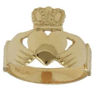 New Mens 14k Yellow White Gold Irish Claddagh Ring