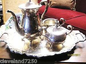 EPCA BRISTOL SILVER ENGLISH TEA/COFFEE SET W/TRAY BY POOLE