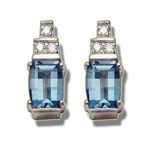 .09 ct 7X5 Barrelcut Blue Topaz Earring Jewelry