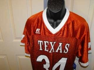 NEW Texas Longhorns MEDIUM M Russell Athletics #34 Copper Jersey 4VB