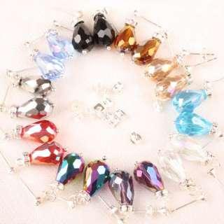 10 Pairs Mixed Crystal Glass Drop Bead Dangle Earrings