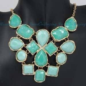 Golden Huge Acrylic Light Green Blue Pendants Adjustable Bib Necklace