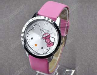 NEW Fashion cute Lovely Kitty Crystal Girls Quartz Wrist Watch
