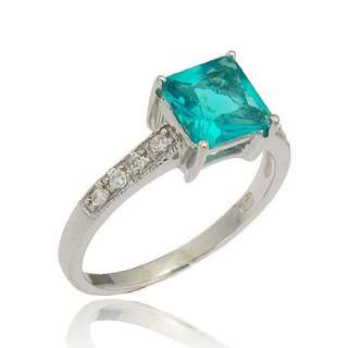 8Ctw Princess Cut Blue Topaz Simulated Sterling Silver Womens