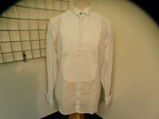 LAZO White Mens Pleated Tuxedo Shirt 15.5/39 NICE
