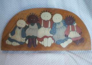 SHABBY PRIMITIVE COUNTRY CHIC RAG DOLL WOOD WALL SIGN PLAQUE AMERICANA