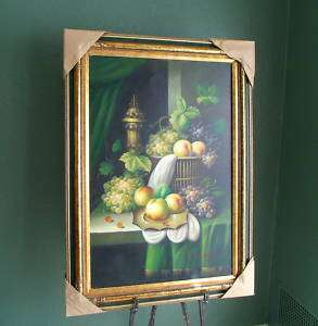 Antique Style Oil Painting Framed Signed Grapes Fruit