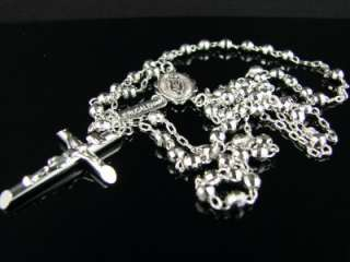 10k WHITE GOLD ROSARY DIAMOND CUT NECKLACE CHAIN 26+5.5