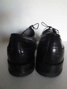 NEW vintage FLORSHEIM Wing Tip Shoes 10 NOS Black Leather Dress