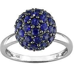 14k White Gold 2 1/2ct Blue Sapphire Ring