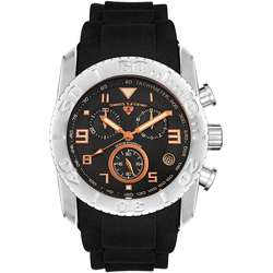 Swiss Legend Mens Commander Black/ Orange Watch  Overstock