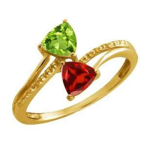 1.02 Ct Trillion Green Peridot and Red Garnet 14k Yellow