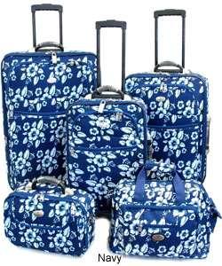 Hawaiian Print 4 piece Luggage Set with Free Tote