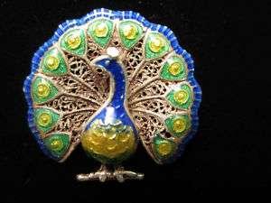 Vintage 14k Gold Filigree & ENAMEL Peacock Pin Brooch