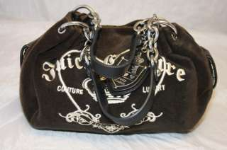 JUICY COUTURE ESPRESSO VELOUR HEART & CROWN CREST BABY FLUFFY HANDBAG