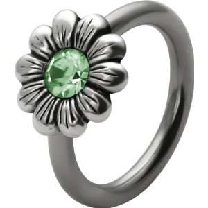 Perido CZ Gem Flower Charm Capive Bead Ring Jewelry