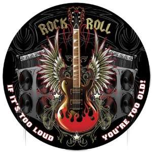 Rock and Roll Round Metal Sign Home & Kitchen