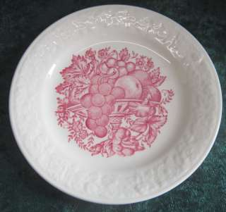 Beautiful Harvest USA B48N8 Red & White Fruit Design Bread Butter