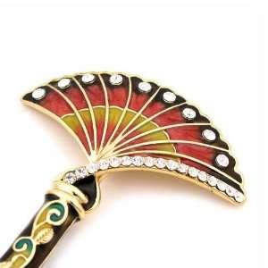 LUX Vintage Style Swarovski Rhinestone Fan Hair Stick Red Beauty