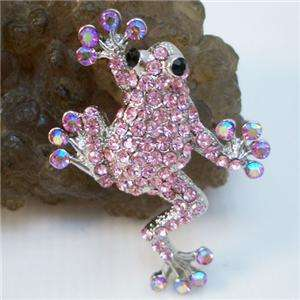 Pretty Pink Tree Frog Brooch Pin w/ Swarovski Crystal