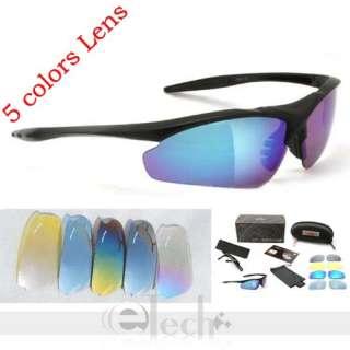 Bicycle Bike Sport Glasses Goggle 5 Lens TS001 Black
