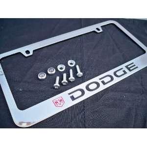 Dodge Logo Chrome Metal License Plate Frame with Screw Caps   Dakota
