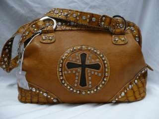 Western Rhinestone Cowhide Cross Brown Purse Handbag
