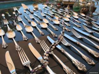 LARGE WALLACE GRAND BAROQUE STERLING SILVER FLATWARE SET FULL