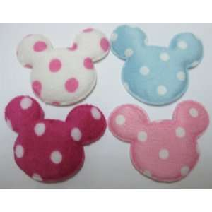 40pc Assorted Color Mouse Head White Dots Felt Padded