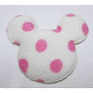 30pc White Mouse Head w Pink Dots Felt Padded Applique Embellishment