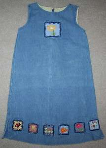 COPPER KEY Girls Blue Denim Jean Flowers Tank Dress Size 6 Jumper