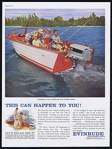 1958 Evinrude Outboard Boat Motor Family Fishing Print Ad