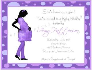 Cute MOD MOM CHIC PURPLE Baby Shower Invitations Trendy