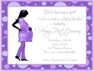 Cute MOD MOM CHIC PURPLE Baby Shower Invitations Trendy