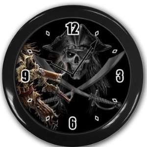 Pirates skull and crossbones Wall Clock Black Great Unique