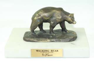PHILLIP R GOODWIN SIGNED BRONZE WALKING BEAR SCULPTURE MARBLE LIMITED