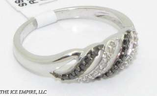 LADIES REAL BLACK/CLEAR DIAMONDS RING SIZE 7 LDR002