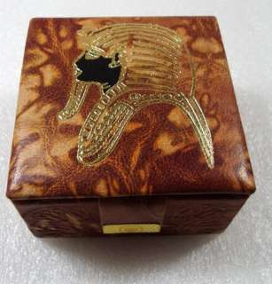 MADE Genuine Leather Jewelry Box Pharaoh KING TUT ethnic tribal
