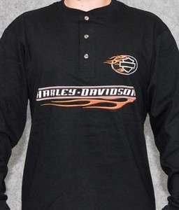Davidson Mens Side Flames Black Long Sleeve Henley T Shirt