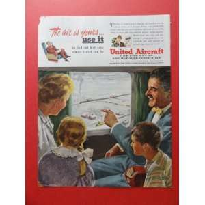 Aircraft Corp. print advertisement (family looking out of airplane