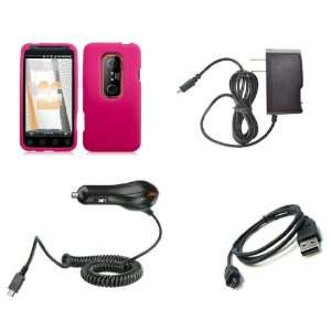HTC EVO 3D (Sprint) Premium Combo Pack   Hot Pink Silicone