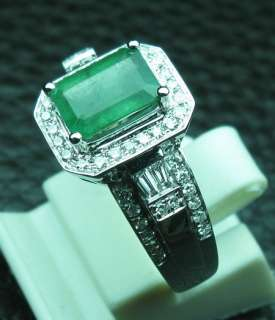 23CT SOLID 14K WHITE GOLD NATURAL EMERALD DIAMOND RING |