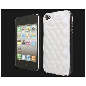 White Deluxe Luxury Leather Chrome Hard Back Case Cover