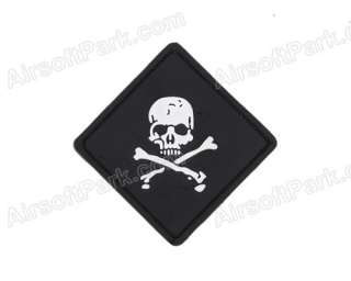 Pirate Skull and Crossbones Patch with Velcro Back Black