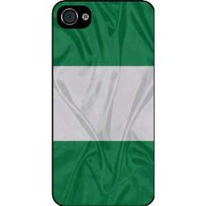 Rikki KnightTM Nigeria Flag Rubber Black iphone Case (with