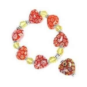 Murano HEARTS Glass Flowers RED Bracelet Arts, Crafts & Sewing