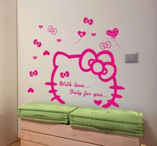 Pink HELLO KITTY TV Sofa Backdrop Bedroom Living Room Wall Stickers